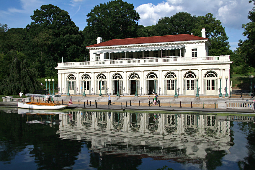 View of the boathouse from the lake