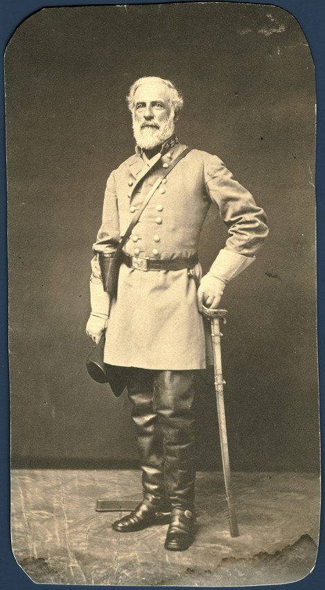 Full-length of General Robert E. Lee in his Confederate uniform.