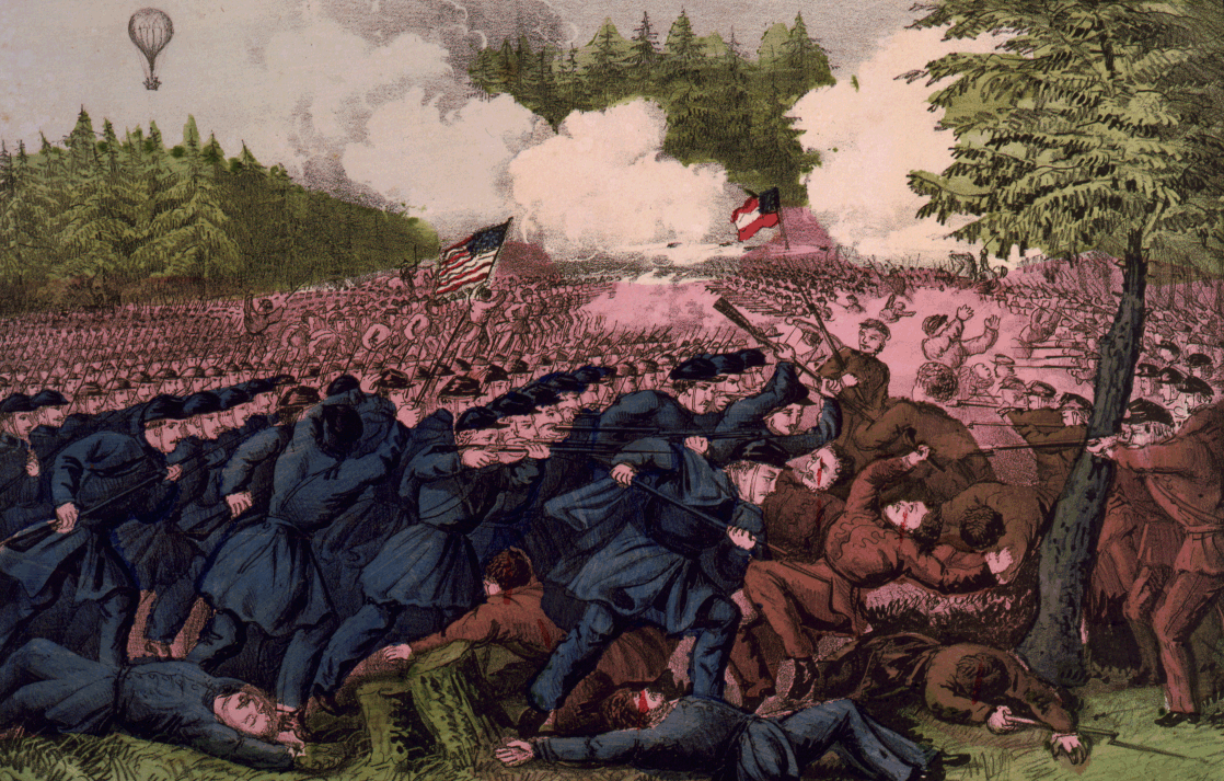This Currier and Ives depiction of the battle was printed soon after the battle.