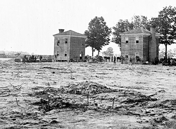 Village of Fair Oaks following the battle. These buildings were surrounded by UNion fortifications that faced a number of massive assaults launched by the Confederate Army.