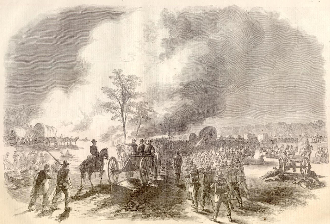 This sketch, done during the battle, depicts General Franklin of the Union army and his VI (6th) Corps retreating in the face of massive assaults.
