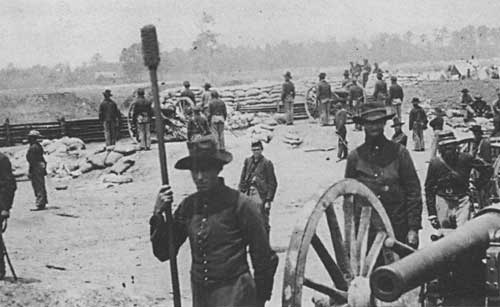 Union artillery near Seven Pines prior to the battle