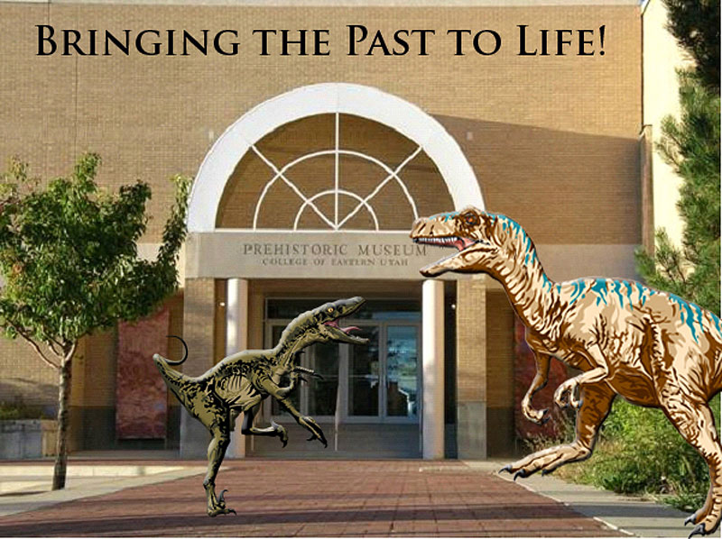 "Sculptures of dinosaurs, including the first ""Al"" greet visitors on their way into the museum."