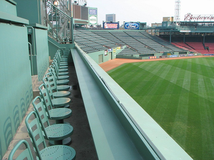 "Seats atop the ""Green Monster"". A new seating section atop the wall with seats for 274 fans (the seats were added in 2002–2003). Photo by Bernard Gagnon."