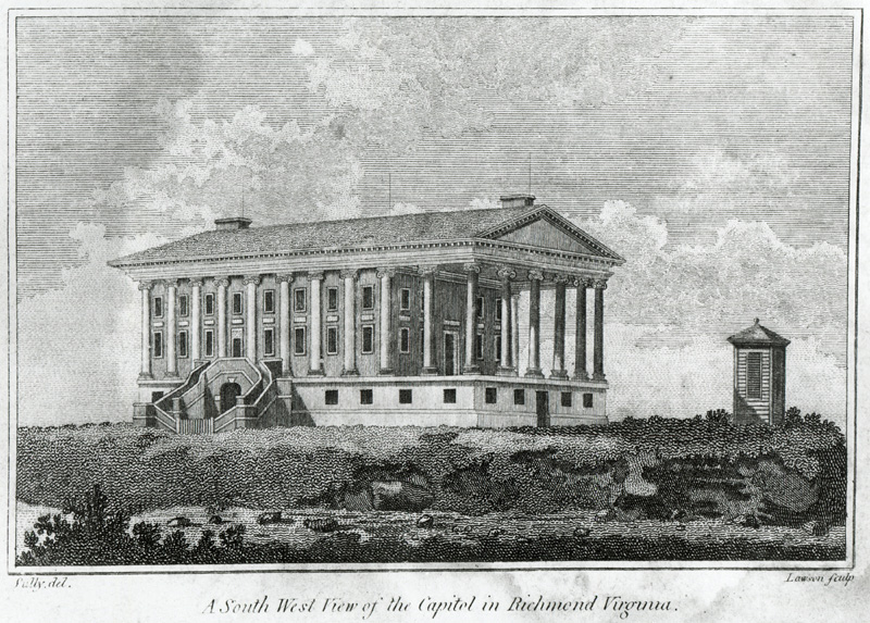 Drawing of the capitol as it looked in 1802. Courtesy of Lawrence Sully. Digital reproduction of wood engraving. Published in Virginia & North Carolina Almanack 1802.