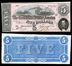 The capitol building was featured in Confederate Currency, such as this 1864 $5 bill
