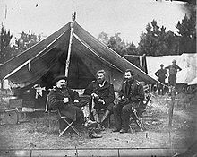 Colonels Albert V. Colburn, Delos B. Sackett and General John Sedgwick in Harrison's Landing, Virginia during the Peninsula Campaign, 1862. They had settled on land belonging to the plantation.