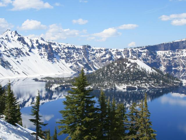 Crater Lake with snowfall