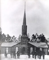 Late 1800s photo of the Poplar Grove Church, the cemetery's namesake