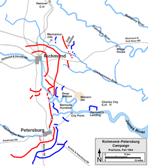 Map showing where the siege lines around both Richmond and Petersburg were located. Many can be seen still to this day.
