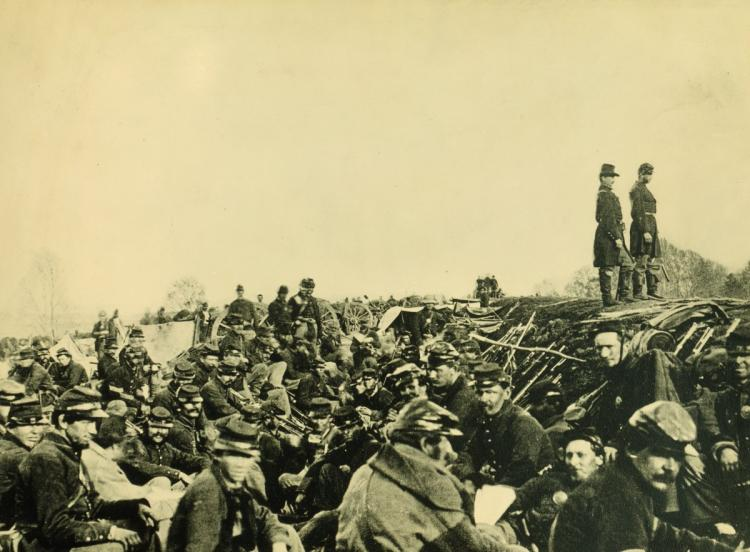 Union soldiers in their trenches during Christmas of 1864
