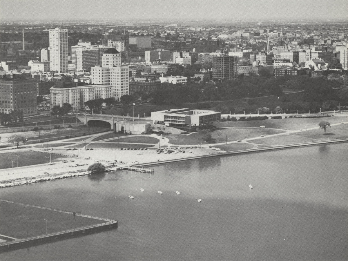 Aerial view of The War Memorial Center after it was built