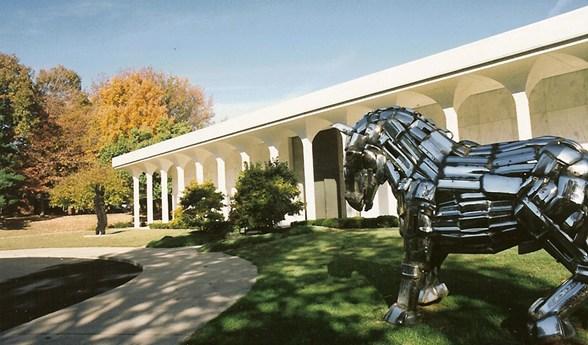The Cedarhurst Center includes a sculpture garden and the Mitchell Museum.
