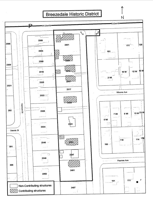 Plan map of Breezedale Historic District from NRHP nomination (Nimz 2005)
