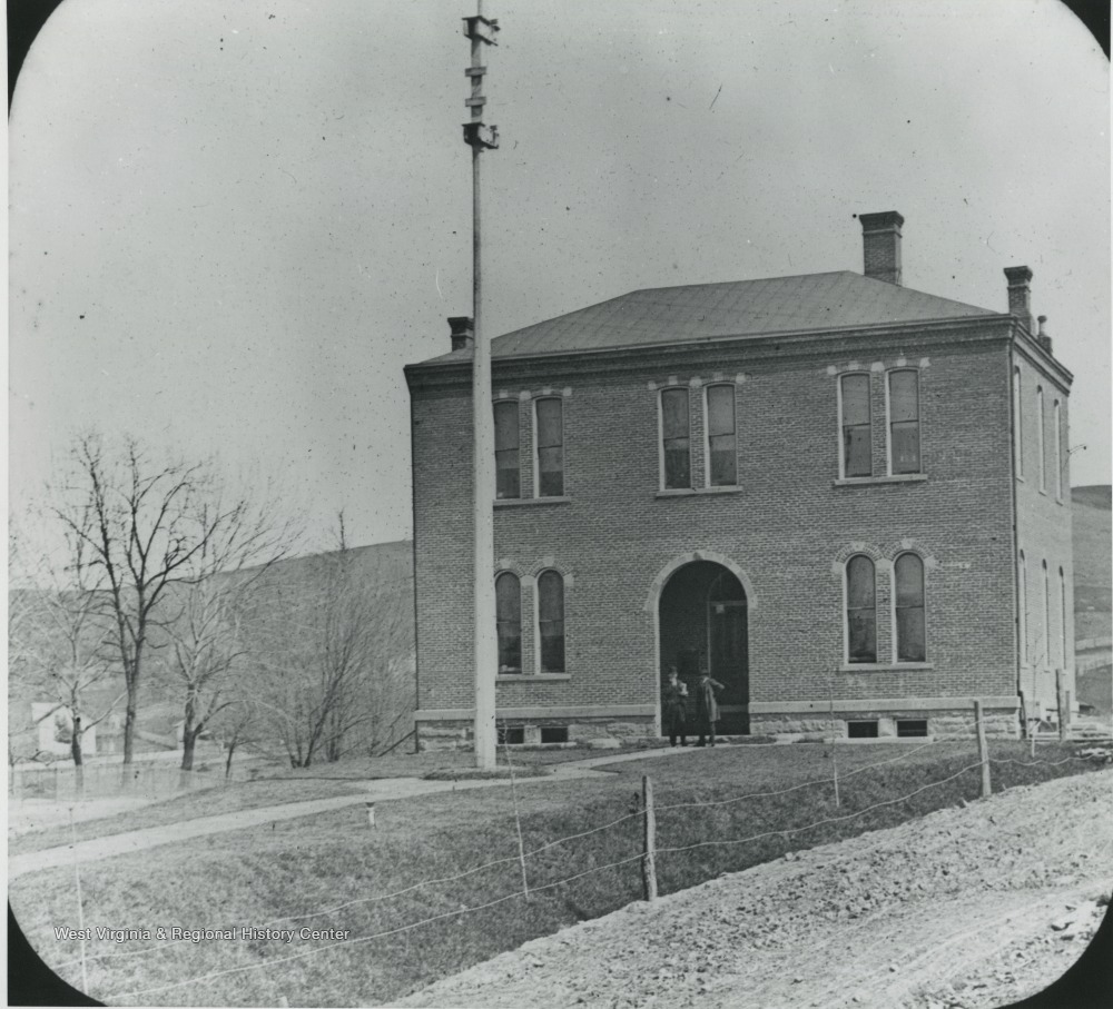 Original Armory Building in 1875 at what is now Oglebay Plaza.