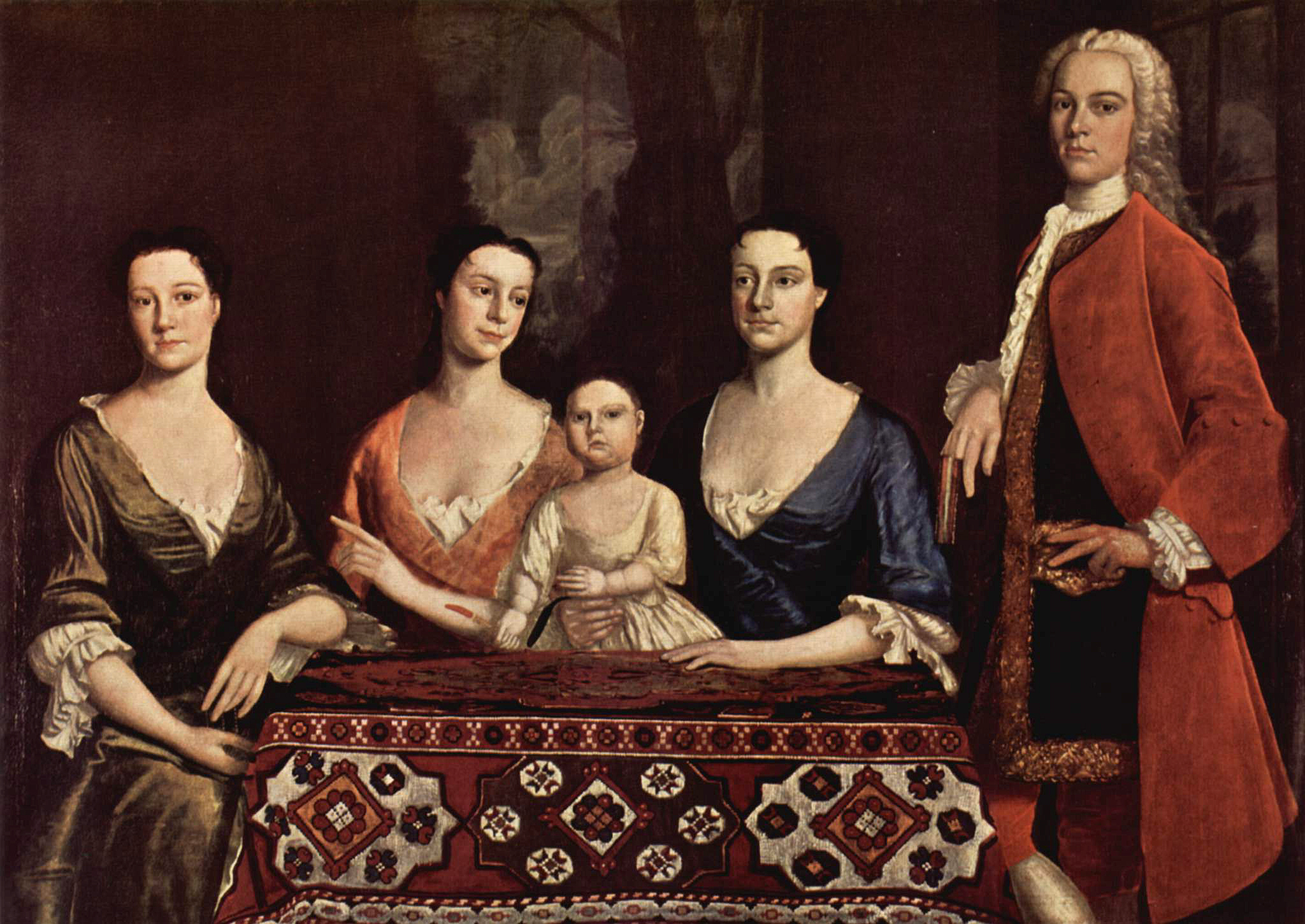 Painting of Isaac Royall, Jr. with his wife and child at his side, and other relatives, by Robert Feke (1741).