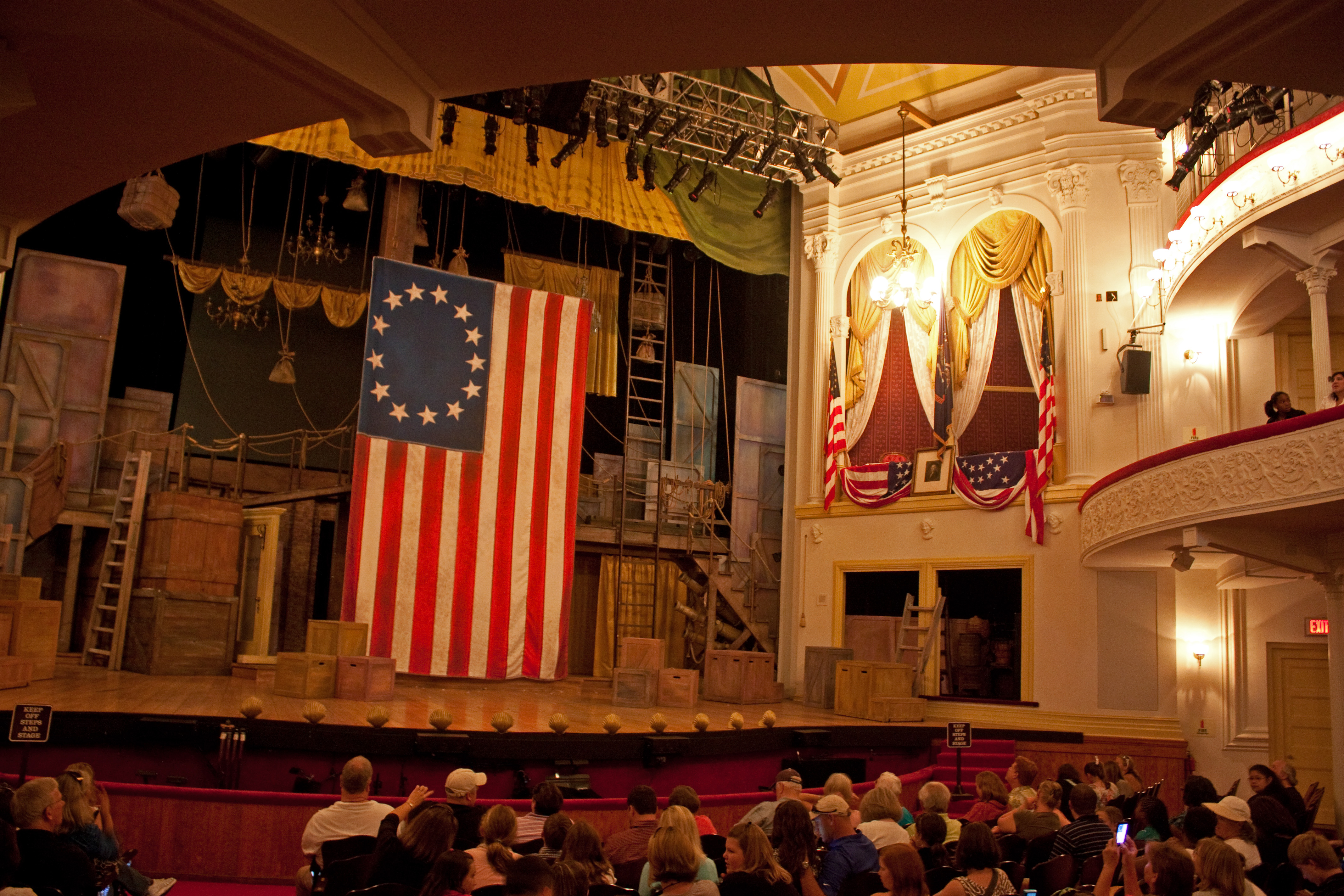 Interior of Ford's Theatre, Washington, D.C.  The presidential box is towards the right. Photo by Wknight94 talk. Licensed under CC BY-SA 3.0 via Wikimedia Commons.