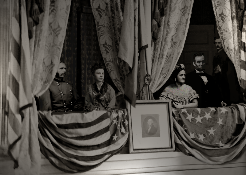 Depiction of the assassination of Abraham Lincoln. From left to right: Henry Rathbone, Clara Harris, Mary Todd Lincoln, Abraham Lincoln, and Booth. Image Licensed under CC BY-SA 1.0 via Wikipedia.