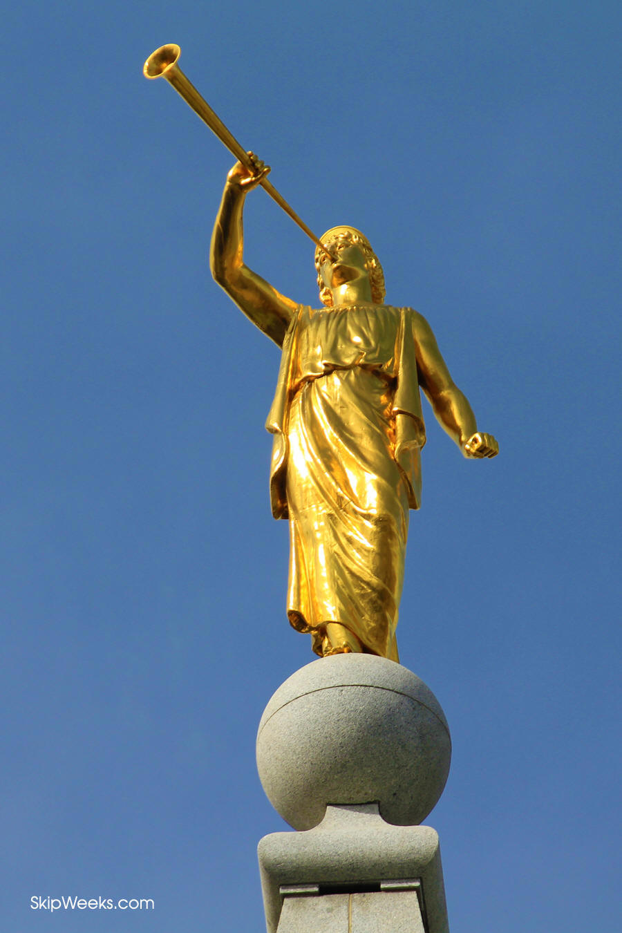 The statue of Moroni, the first of its kind, welcomes visitors into the city.