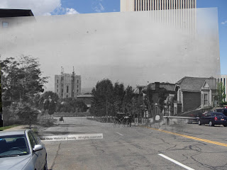 Superimposed photo of temple and Salt Lake City in 1887 over modern-day temple square