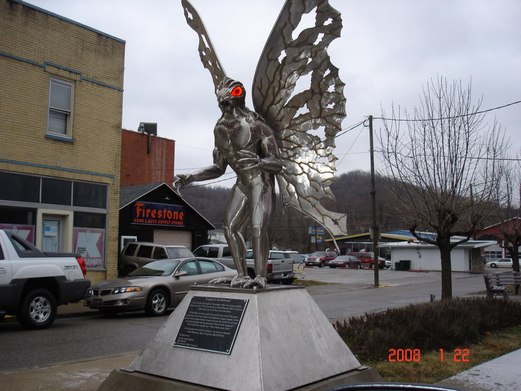 The stainless steel Mothman statue.
