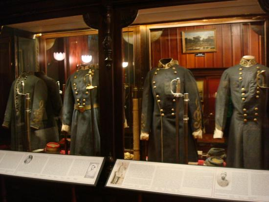 Some of the Confederate uniforms on display within the museum.