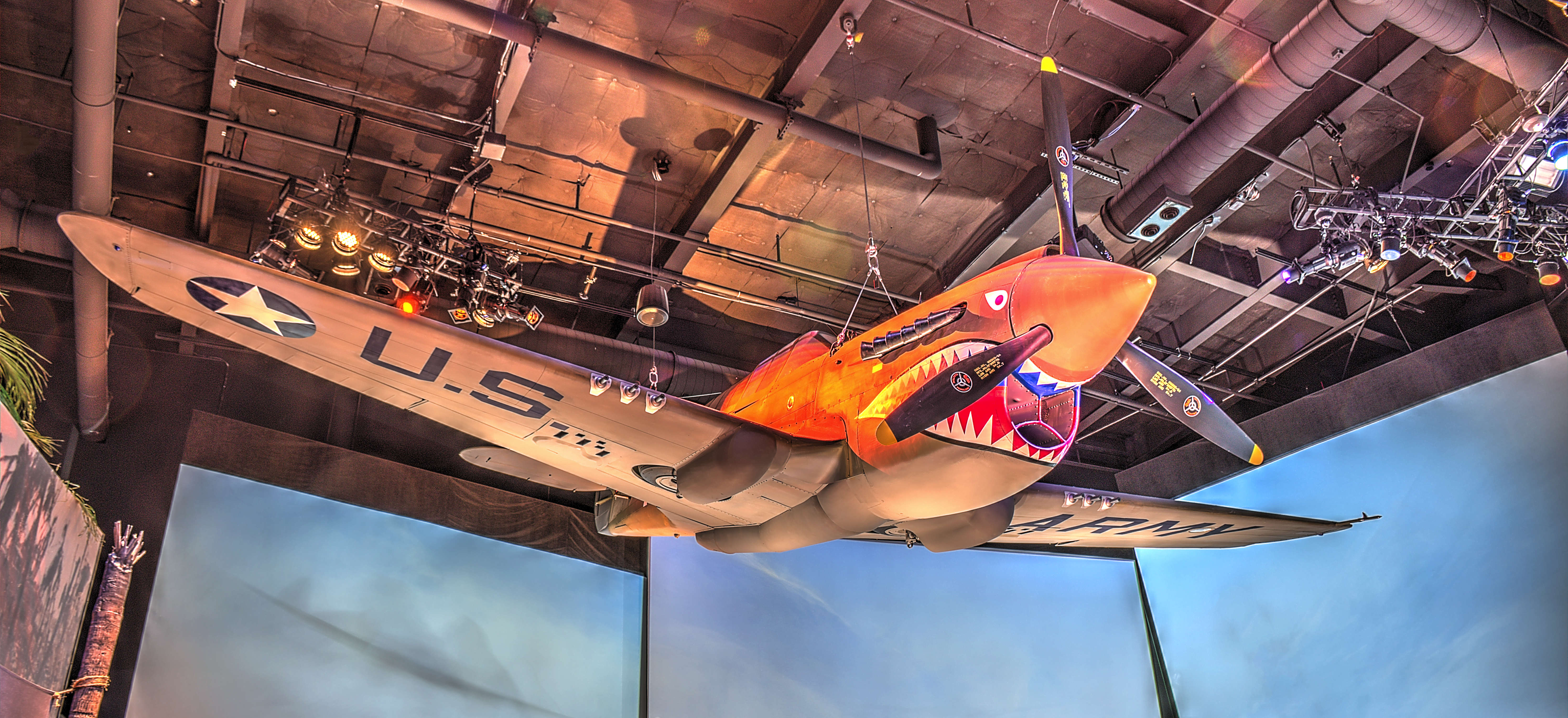 One of the museum's more popular exhibits are its World War II aircraft, such as this Curtiss P-40 Warhawk fighter plane.