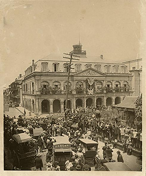 History view of the Cabildo. Image courtesy of the Tulane School of Architecture/New Orleans Preservation Timeline Project.
