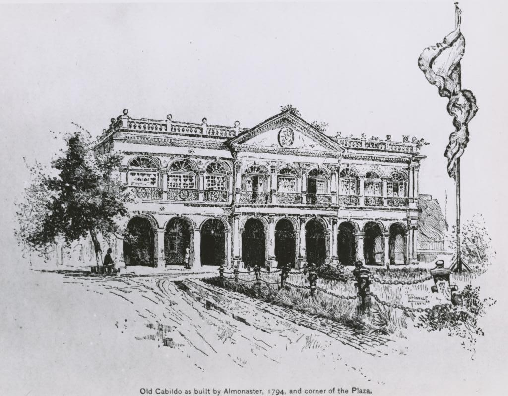The reconstructed Cabildo as it would have looked in 1794 following the 1788 fire. Reconstructions were financed by philanthropist Don Almonester. Illustration dates to 1890. Courtesy of the Louisiana State Museum