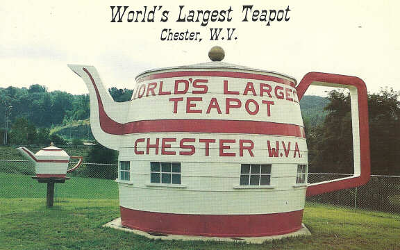 World's Largest Teapot postcard from the 1990s. 