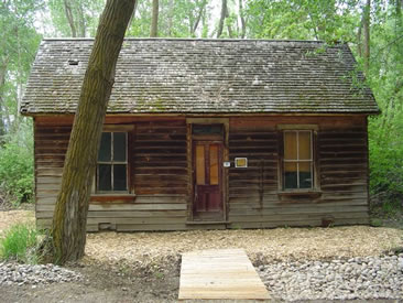 Recreation cabin that line the woods around the Fort.