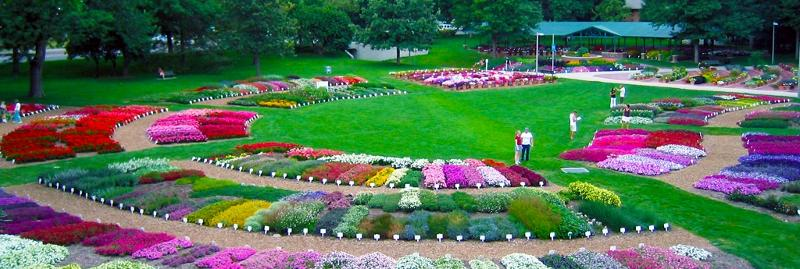Beautiful display of over 50 different types and colors of flowers.
