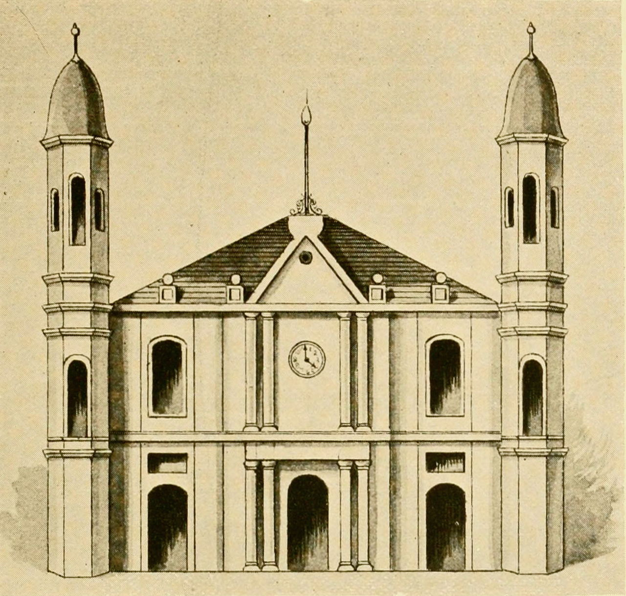 "Rendering of the first version of the church, reprinted in ""New Orleans as it was. Episodes of Louisiana life"" by L. Graham & son, ltd., printers in New Orleans (1794; published 1895)."