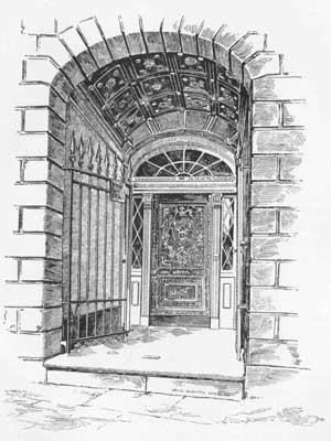 An artist's depiction of the entryway to 1140 Royal Street, circa 1888.