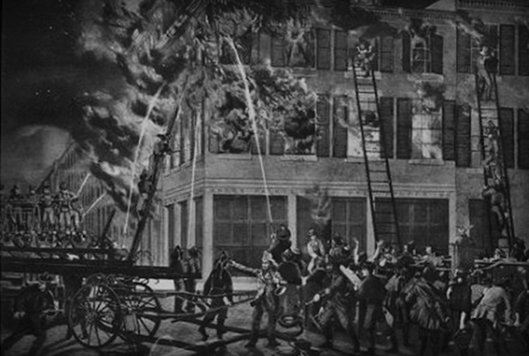 Rendition of the 1834 fire that almost destroyed the LaLaurie Mansion, only to reveal the horrors within the home.