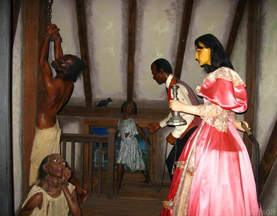 The former, now defunct, historically themed wax museum in the French Quarter, the Musée Conti Wax Museum, on Conti Street, traditionally included a scene depicting abused slaves in Madame LaLaurie's attic