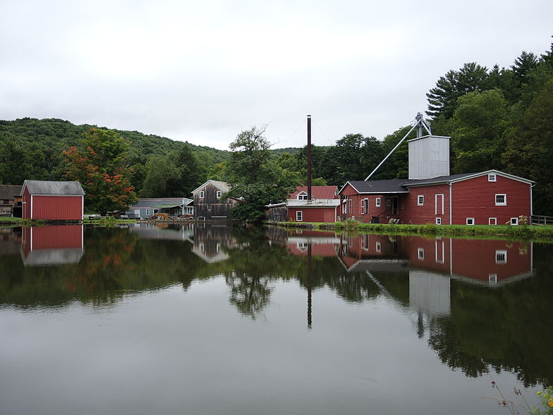 Hanford Mills Museum in East Meredith, New York as viewed from across its en:Mill pond