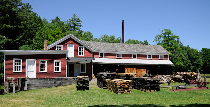 A photograph of the millhouse at the Hanford Mills Museum, East Meredith, NY.