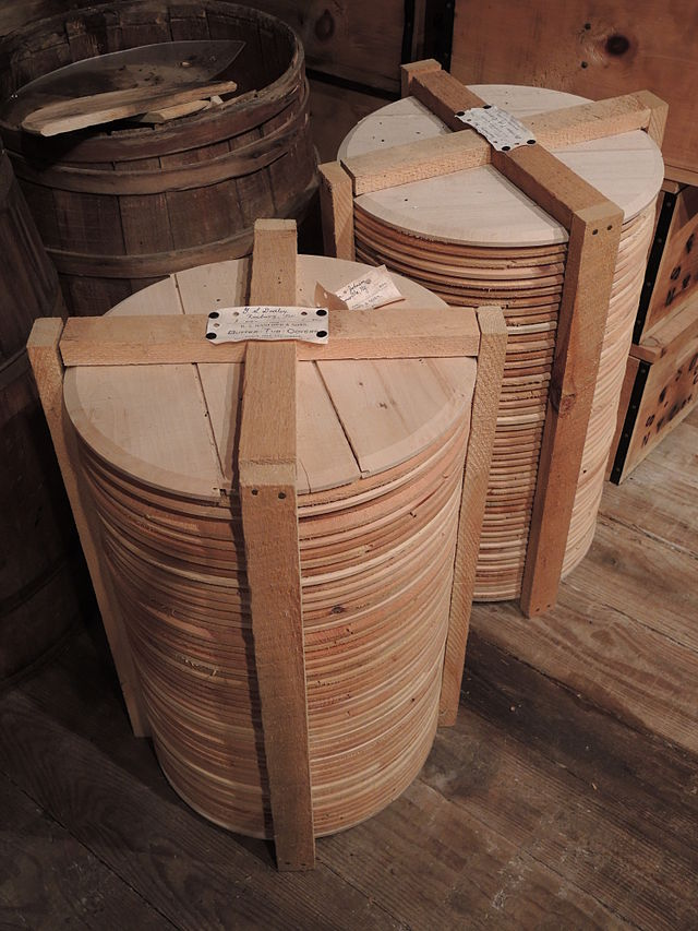 Wooden covers for butter tubs awaiting shipping at the Hanford Mills Museum in East Meredith, New York