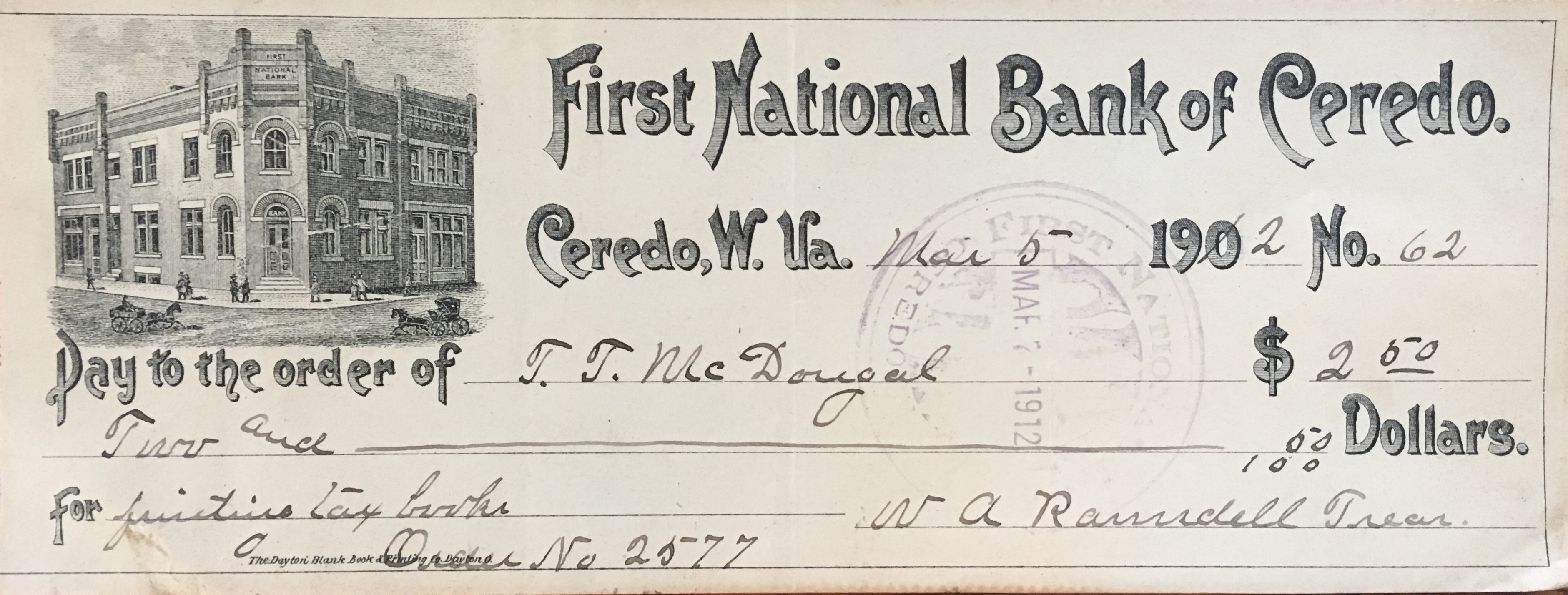 Check from the Ceredo Bank in 1902. Courtesy of the Ramsdell House.