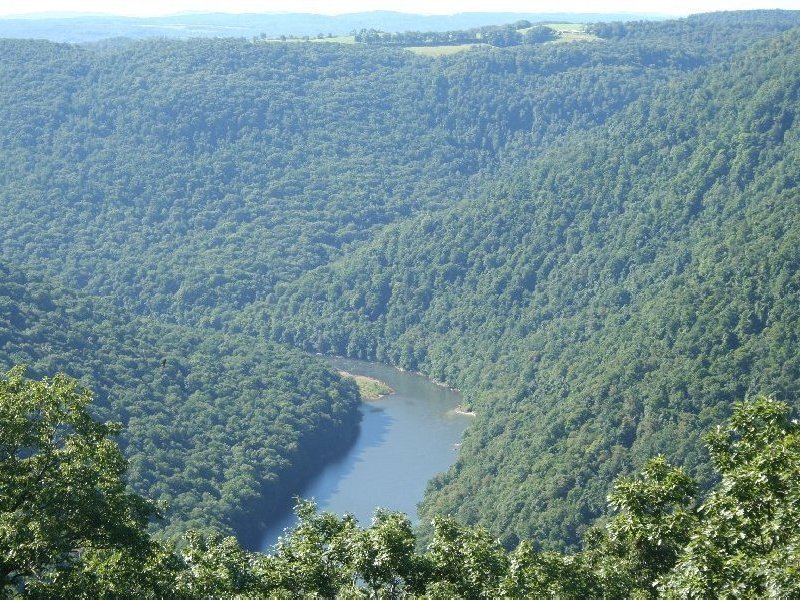 View of gorge and the Cheat River from the Coopers Rock Overlook, which is a short walk from the park's main parking area