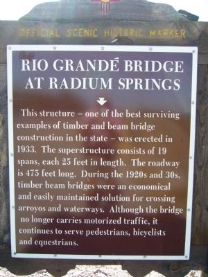 Rio Grande Bridge at Radium Springs Historical Marker