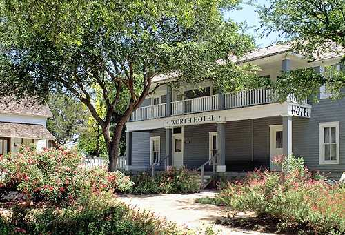 One of over two dozen historic buildings in the village, this hotel was built in 1904 and moved to the village from its original location in Carrollton, Texas.