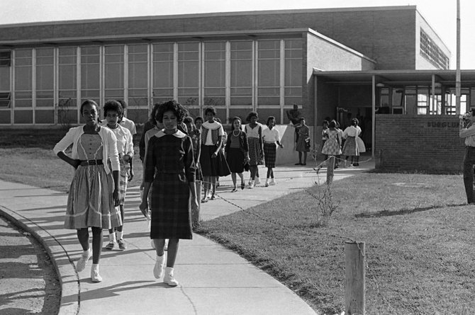 Students protest the arrest of Brenda Travis and other civil rights activists by staging a walkout on October 4, 1961