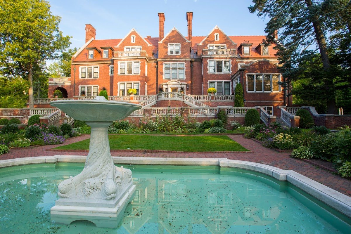 View of the rear facade of the mansion and a portion of the grounds. Credit: University of Minnesota-Duluth - Glensheen, The Historic Congdon Estate