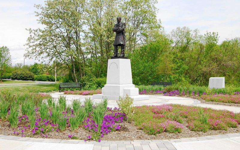 The bronze statue of Admiral David Farragut, who was born near this area in 1801.