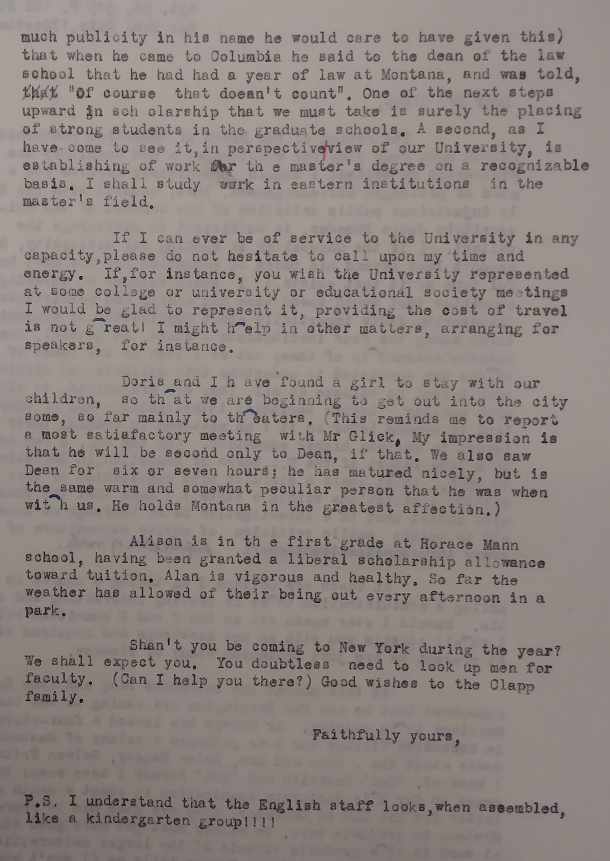 A 1942 letter comparing the English faculty to kindergarteners