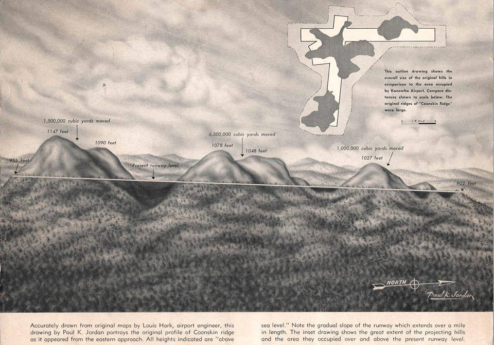 This brochure from the 1950s shows how engineers removed mountain tops and filled in valleys with nine million cubic yards of rock and soil to create space for the runways.