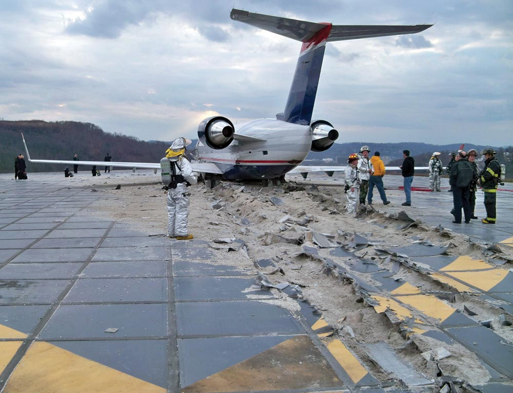 In January 2010, the decision to build an EMAS system at the end of the runway proved critical to preventing this passenger plane from going over the side of the hill.