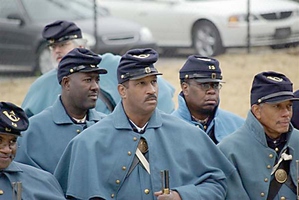 A reenactment of the United Stated Colored Troops' 13th Infantry Regiment, the troops who garrisoned the fort, during the commemoration of the opening of the Fort Negley Visitors Center in 2007